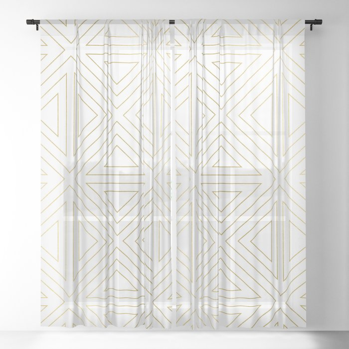 Angled White Gold Sheer Curtain By Caitlinworkman Society6
