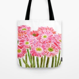 Pink Gerbera Daisy watercolor Tote Bag
