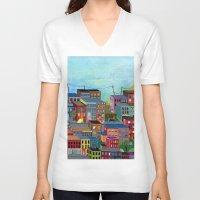 three of the possessed V-neck T-shirts featuring Three by Valeriya Volkova