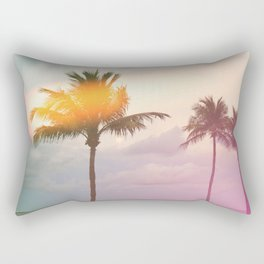 Palm Trees on the Beach Rectangular Pillow