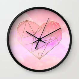 Planet Heart on Pink Sky Wall Clock