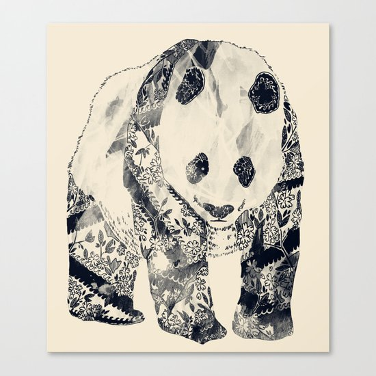 Tattooed Panda {cream} Canvas Print