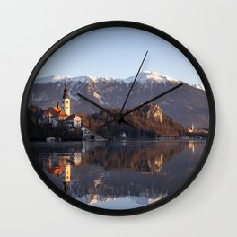 Bled lake in winter Wall Clock