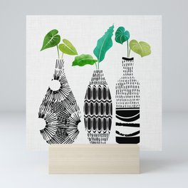 Black and White Tribal Vases Mini Art Print