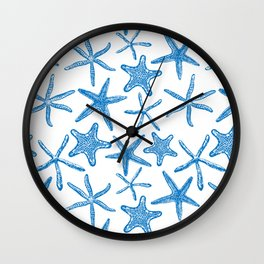 Sea stars in blue Wall Clock