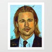 brad pitt Art Prints featuring Brad Pitt II by Nick Arte