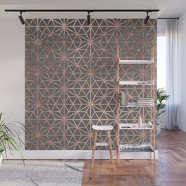 Modern rose gold stars geometric pattern Christmas grey graphite concrete industrial cement Wall Mural