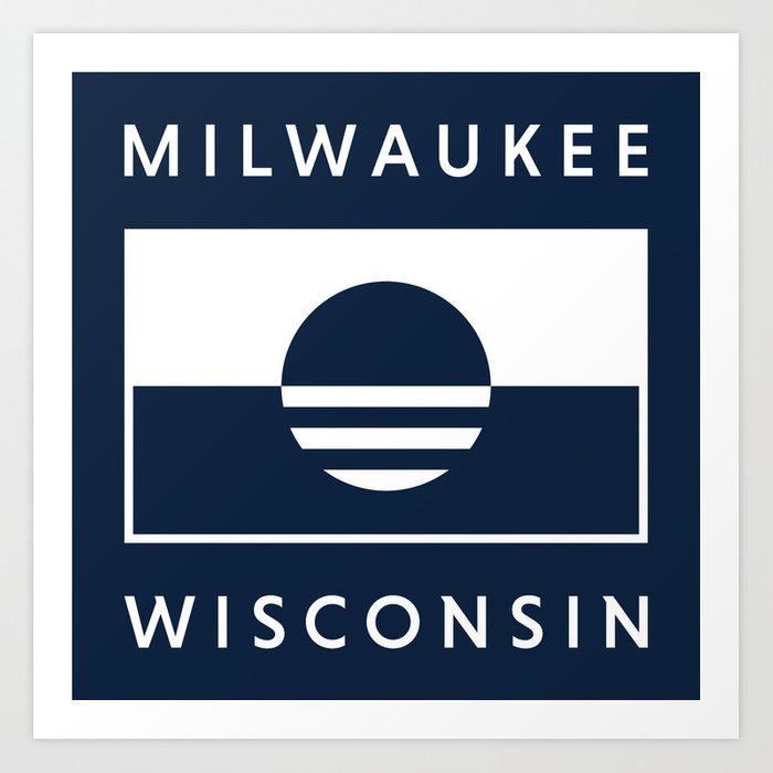 Milwaukee Wisconsin - Navy - People's Flag of Milwaukee Art Print