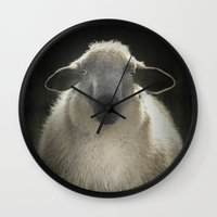 sheep Wall Clocks featuring Sheep by Monika Strigel®