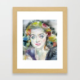 BETTE DAVIS watercolor portrait.2 Framed Art Print