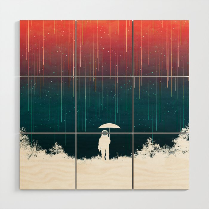 Meteoric rainfall Wood Wall Art