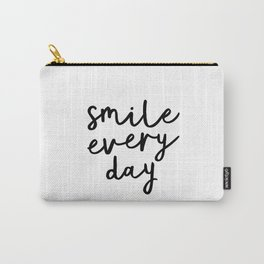 Smile Every Day black and white contemporary minimalism typography design home wall decor bedroom Carry-All Pouch