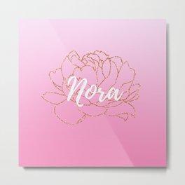 Nora Pink Rose Gold Peony Metal Print