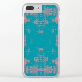 Living Coral Turquoise Shibori Tye Dye Clear iPhone Case