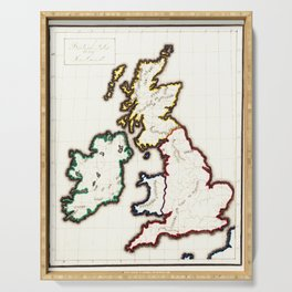 Vintage Map of The British Isles (1860) Serving Tray