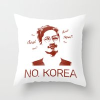 korea Throw Pillows featuring No, Korea by HMS James