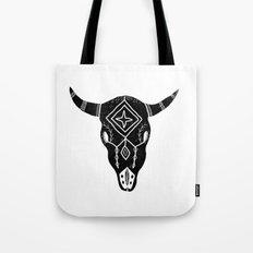 Longhorn linocut southwest black and white minimal square print desert designs Tote Bag