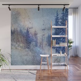 Chairlift into the Universe // Milky Way Galaxy Snowboarding Snow Nebula Stars Mixed Media Popart Wall Mural