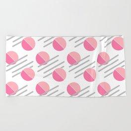 Modern Pink Circle Line Abstract Beach Towel