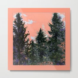 CORAL PINK WESTERN PINE TREES MOUNTAIN LANDSCAPE Metal Print