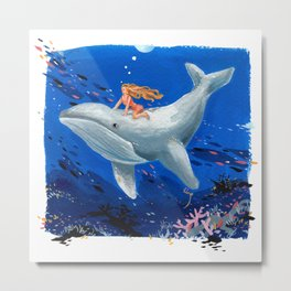 A Girl & Her Whale Metal Print