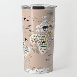 Cartoon animal world map, back to schhool. Animals from all over the world rosybrown background Travel Mug