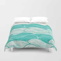 nirvana Duvet Covers featuring The Calm and Stormy Seas by Pom Graphic Design