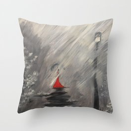 Lady in red - Rainy day Throw Pillow
