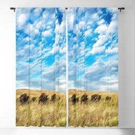 Buffalo on the American Prairie Landscape Painting by Jeanpaul Ferro Blackout Curtain