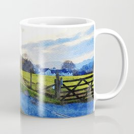 Cool Sunset behind the Farm and Mountains by the Lake District, UK Coffee Mug