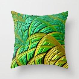 patterns green yellow string Throw Pillow