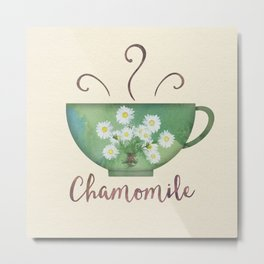 Digital Watercolors Chamomile Tea Cup Metal Print