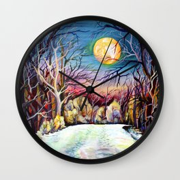 Sublime Watercolor Scenery with Sweden Scandinavian Full Moon Landscape Wall Clock