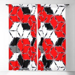 red white black grey cubes geometric 3d pattern Blackout Curtain