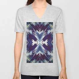 Dark Blue Aztec Inspired Design Unisex V-Neck
