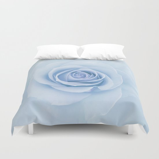 Soft Baby Blue Rose Abstract Duvet Cover