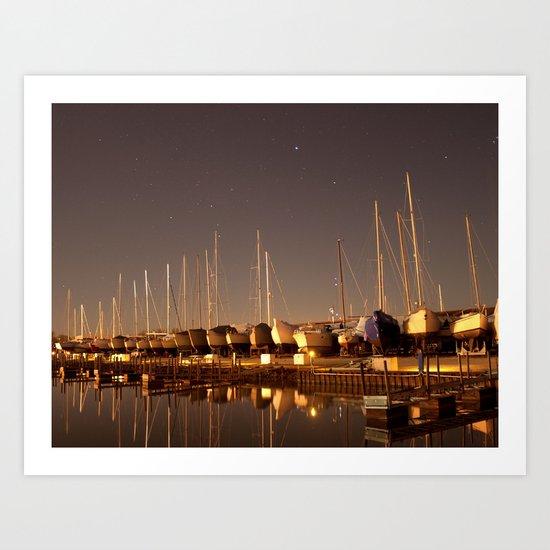 The Docks at Night Art Print