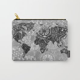world map mandala black and white 1 Carry-All Pouch