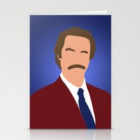 anchorman Stationery Cards featuring Ron Burgundy - Anchorman by Tom Storrer