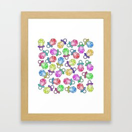 Retro 80's 90's Neon Colorful Ring Candy Pop Framed Art Print