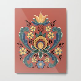 Rosemaling Red and Gold Metal Print