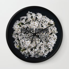 Fake Love White Floral Wall Clock