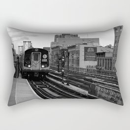 Black and White J Train Rectangular Pillow