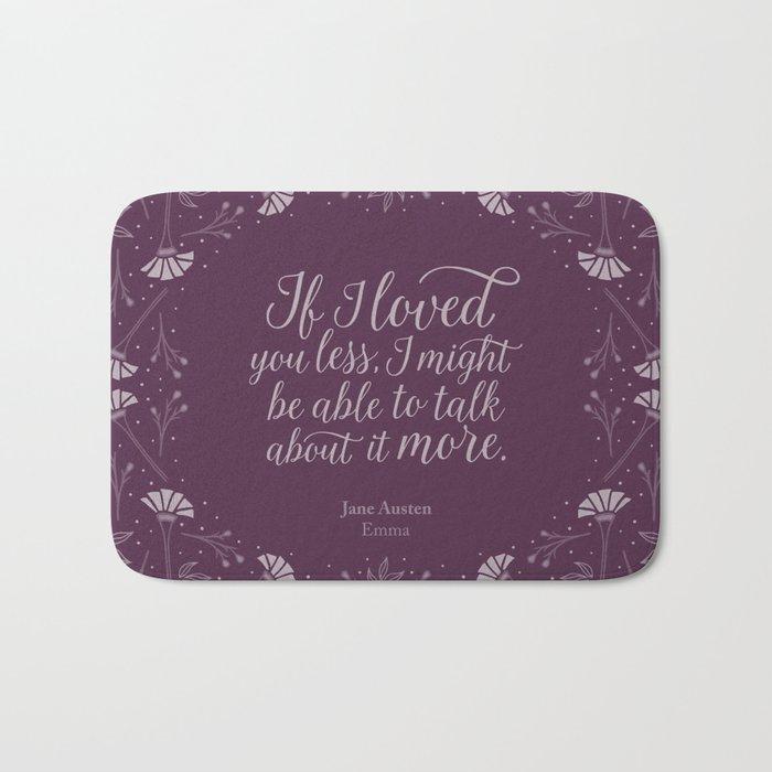 Purple Floral Love Quote Emma Jane Austen Bath Mat By
