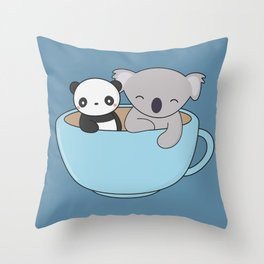 Kawaii Cute Koala and Panda Throw Pillow
