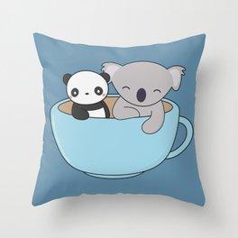 Kawaii Cute Koala and Panda Throw Pillow
