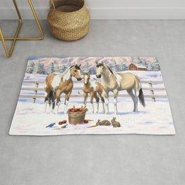 Buckskin Pinto Paint Quarter Horses In Snow Rug
