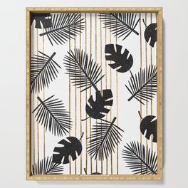 chic black glitter palms on white with golden stripes Serving Tray