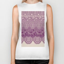 lace border with floral and geo mix in bordeaux Biker Tank