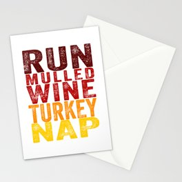 Run Mulled Wine Turkey Nap product Thanksgiving Turkey Trot Stationery Cards